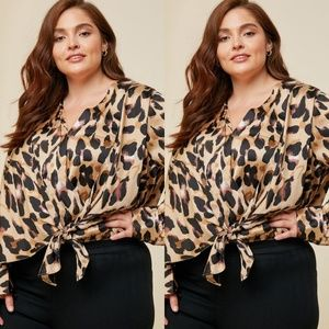 Tops - Plus size leopard print silk front tie top